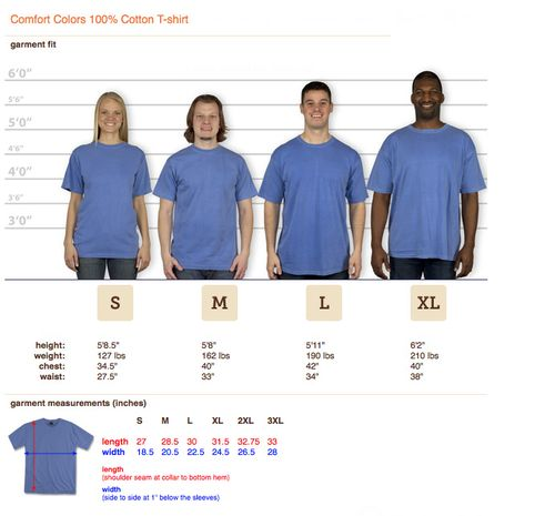 Comfort color tee sizing